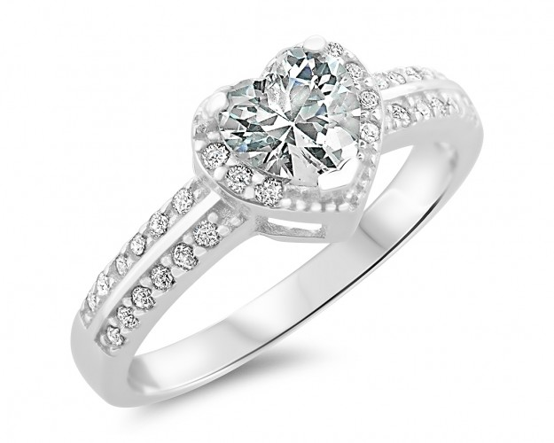 Verlobungsring Silber Mit Herz Kristall Silberschmuck Gravur Ring