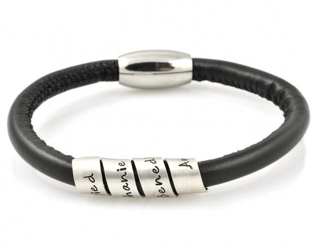 galwani armband mit gravur lederarmband schwarz. Black Bedroom Furniture Sets. Home Design Ideas
