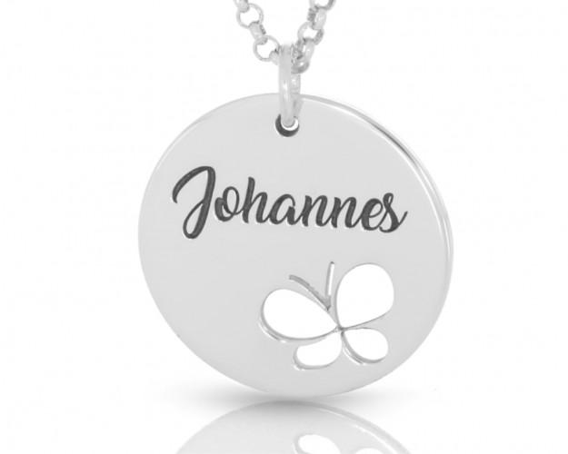 Namenskette mit Schmetterling Gravur Kinder Damenkette 925 Silber poliert