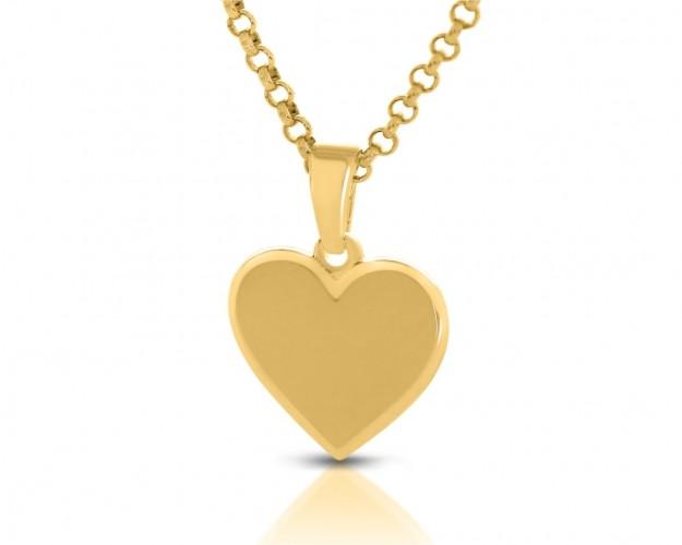 Kette Herz Anhänger glänzend vergoldet Gravur Schmuck
