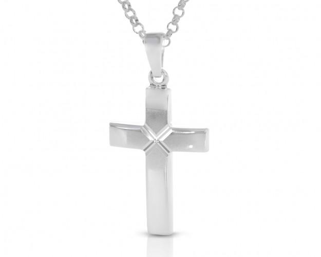 Silberkreuz Kette glänzend matt Taufkette Gravur