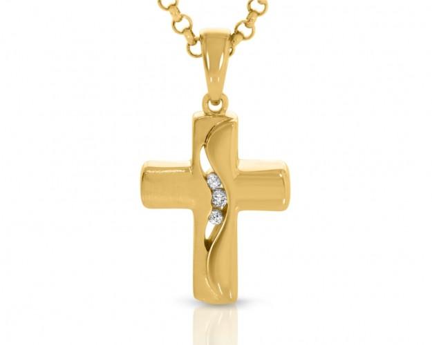 Kreuz Kette vergoldet Schmuck Damen Kinder Halskette religiöse Kette