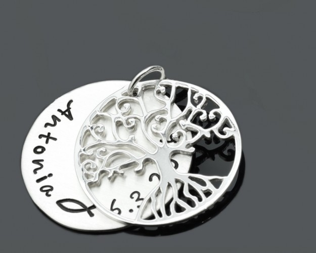 Lebensbaum Anhänger ca. 2,3 cm Gravur 925 Sterling Silber