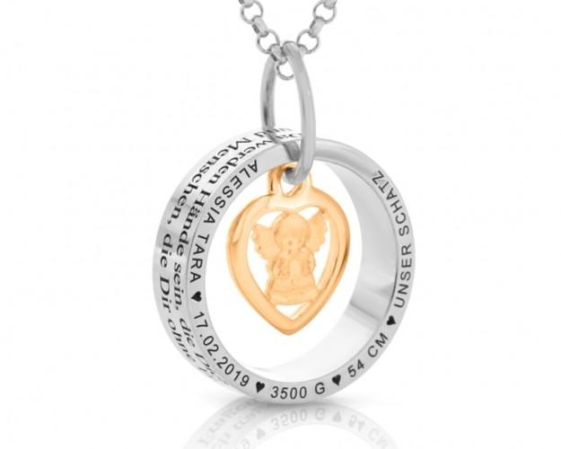 Geschenk Kette Ringe Anhänger Namen Gravur Engel rosé vergoldet