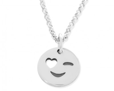 Smiley Kette Silber Sommer Schmuck Anhänger rund mit Herz