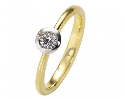 BICOLOR ANTRAGSRING MIT BRILLANTEN 0,15ct, GOLDRINGE