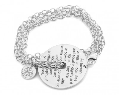 SILBERARMBAND GALWANI HUMANITY, HUMAN RIGHTS ARMBAND AUS 925 SILBER, SCHMUCK MIT BEDEUTUNG
