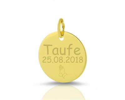 333 GOLD ANHÄNGER MIT GRAVURGOLDSCHMUCK ZUR TAUFE NAMEN NAMENSANHÄNGER NAME