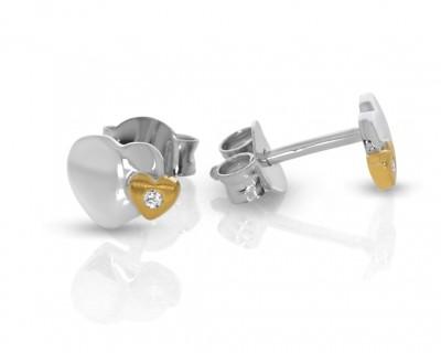 Ohrstecker bicolor Herz Ohrringe Zirkonia zweifarbig 925 Silber
