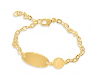 Engel Armband Gravur vergoldet ID Armband Kinder gold