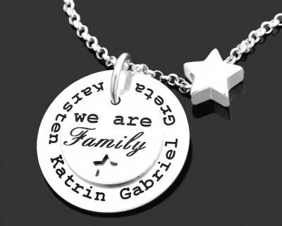 FAMILIENKETTE SILBER MIT NAMEN, OUR FAMILY SCHMUCK, FAMILIENSCHMUCK GRAVUR