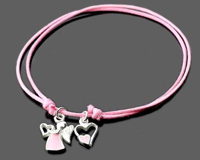 Mädchen Armband, Schutzengel, rosa