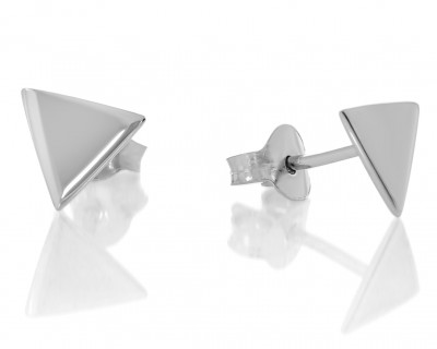 Moderne Ohrstecker Damen Kinder glänzend poliert Dreieck 925 Silber